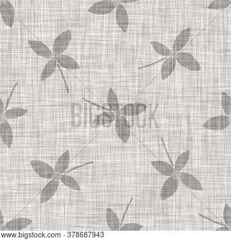 Natural Gray French Woven Linen Texture Background. Old Ecru Flax Daisy Motif Seamless Pattern. Orga