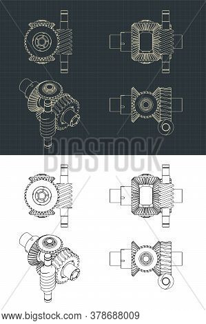 Differential Gear System With Worm Gear Drawings