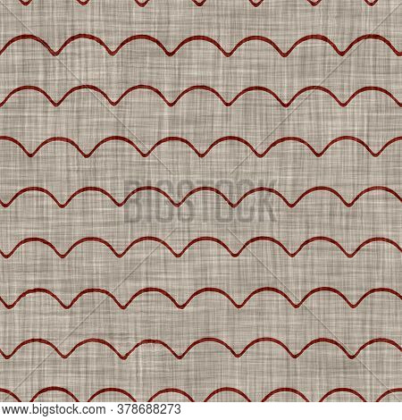 Seamless Red Grey Wave Stripe Texture. Woven Linen Cotton Dyed Effect Background. Homespun Primitive
