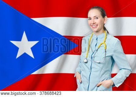 Commonwealth Of Puerto Rico Healthcare Concept With Doctor On Background. Medical Insurance, Work Or