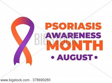 Psoriasis Awareness Month Typography Poster With Lettering And Orange And Lavender Ribbon. Medical B