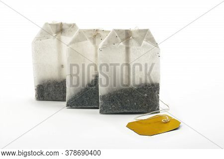 Three Herbal Tea Bag Over Bright Background