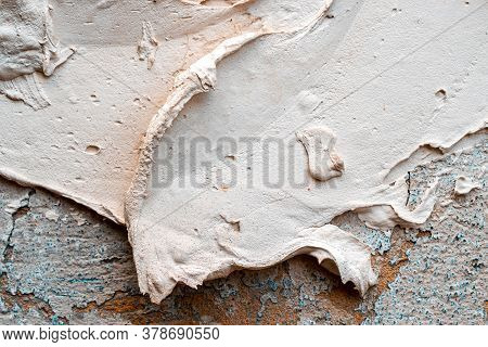 Peeling Wall Paint. Vintage Grunge Plaster Or Concrete Stucco Surface. Old Rough Stone On Cement Pat