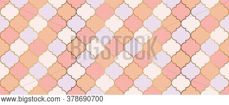 Eid Mubarak Muslim Illustration. Seamless Moroccan Mosaic Texture. Ramadan Kareem Islamic Background