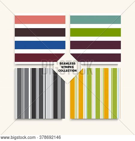 Sailor Stripes Seamless Pattern Set. Autumn Spring Retro Fashion Print. Hipster Fashion Background T
