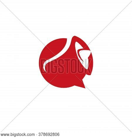 Event Logo Simple Modern Abstract Red Horn Of Loud Speak For Hiring Icon Design Inspiration
