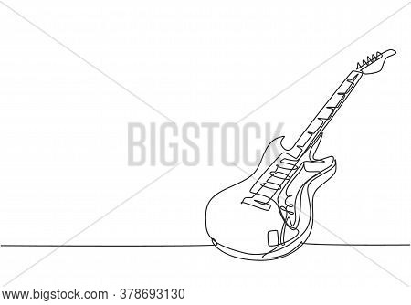 Single Continuous Line Drawing Of Electric Guitar. Stringed Music Instruments Concept. Modern One Li
