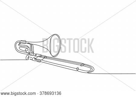 One Single Line Drawing Of Luxury Bass Trombone. Wind Music Instruments Concept Continuous Line Draw
