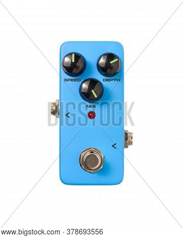 Stomp Box Electric Guitar Signal Chorus Effects Foot Pedal Isolated On White Background With Clippin