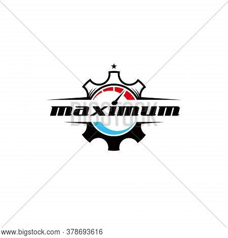 Speed Gear Logo Funky Illustration And Maximum Text For Automotive Lover In Badge Style For Print Ar