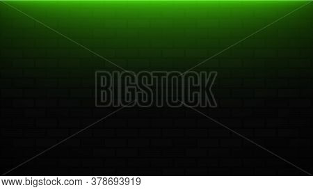 Empty Brick Wall With Green Neon Light With Copy Space. Lighting Effect Green Color Glow On Brick Wa