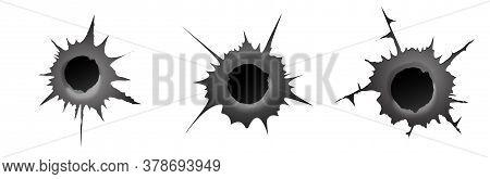 Bullet Hole On White Background. Set Of Realisic Metal Bullet Hole, Damage Effect. Vector Illustrati