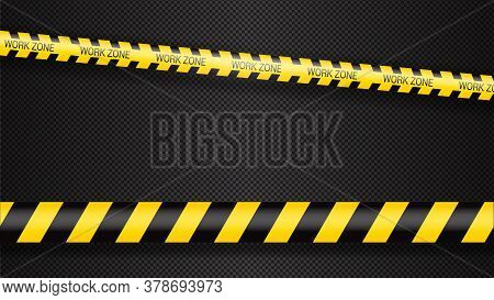 Police Tape, Crime Danger Line. Caution Police Lines Isolated. Warning Tapes. Set Of Yellow Warning