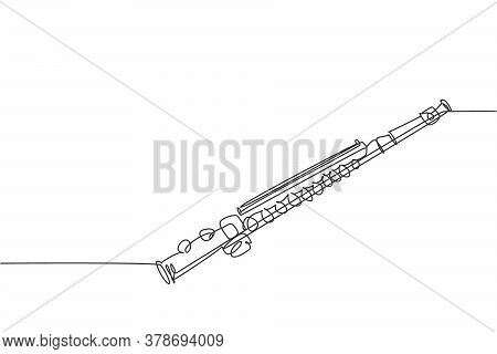 One Continuous Line Drawing Of Classical Flute. Wind Music Instruments Concept. Modern Single Line D