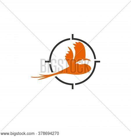 Pheasant Logo Animal Vector Simple Fun Orange Bird Hunter Icon Design Template