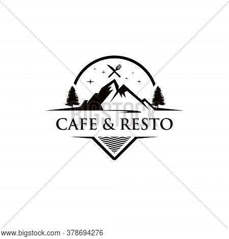 Mountain Cafe Logo Fun Outdoor Travel Food Black Vintage Badge Restaurant Design