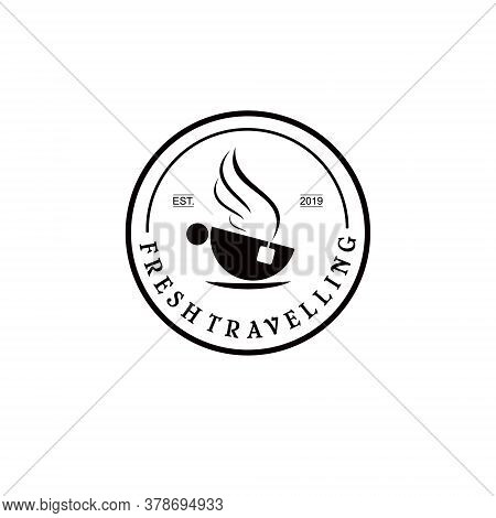 Travelling Logo Cup Tea Vector Simple Circle Black Retro Badge Fun Stamp Design Idea