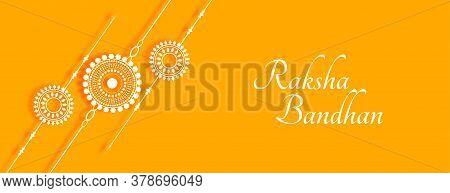 Stylish Raksha Bandhan Yellow Banner With Rakhi Design