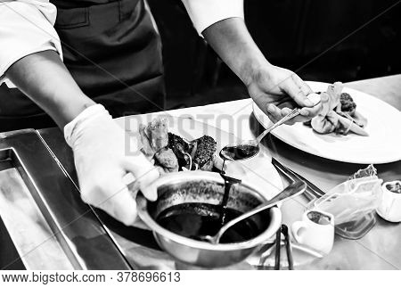 Chef Cooking In A Kitchen, Chef At Work, Black & White
