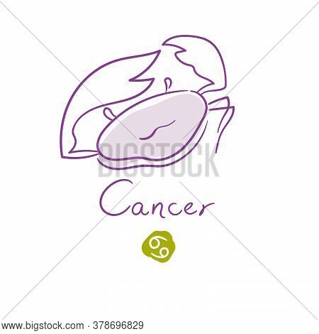 Cancer Illustration, Handwriting, Symbol On White Background. Vector Illustration