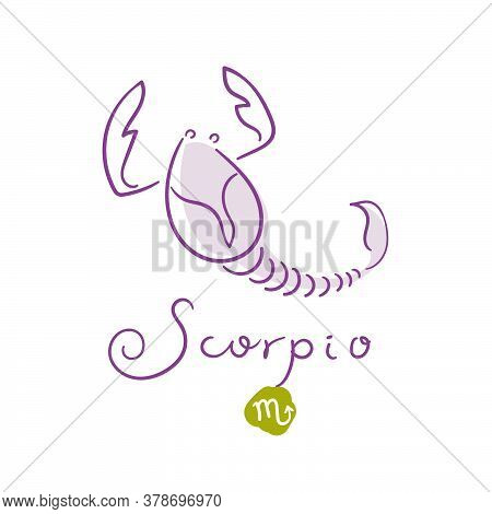 Scorpio Illustration, Handwriting, Symbol On White Background. Vector Illustration