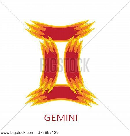 Zodiac Sign Gemini Isolated On White Background. Zodiac Constellation. Design Element For Horoscope