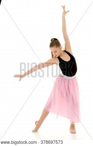 Graceful Girl Gymnast Performing Rhythmic Gymnastics Exercise, Sportive Girl Dancing Wearing Sport D
