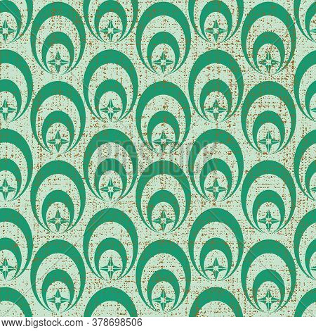 Vector Pastel Green Geometric Oval And Star Shape Seamless Pattern Background With Texture On Top