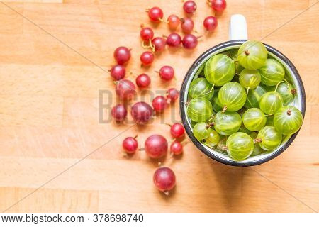 Close Up Of Green Fresh Gooseberries In White Cup, Healthy Homegrown Berry Organich Ripe Gooseberry