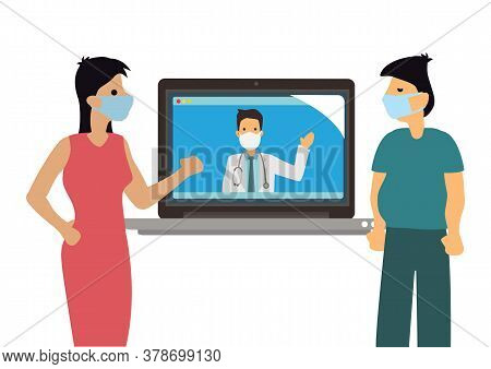 Online Doctor Telemedicine. Young Patient With Laptop Chatting With Practitioner. Medical Consulting