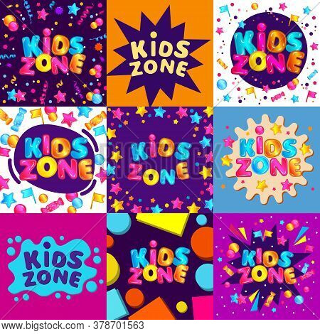 Set Of Bright Banners And Templates For Kids Zone Of Game Room Or Playground.