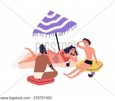 Cartoon People Sunbathing On Beach In Bikini, Beachwear. Friends Rest Near Sea, Relaxing In Summer,