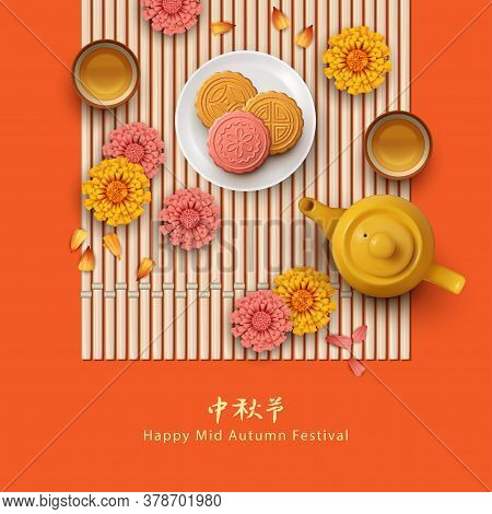 Mid Autumn Festival. Holiday Card With Moon Cakes On A Plate, Teapot, Flowers And Petals. Translatio
