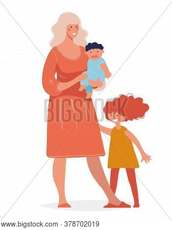 Young Beautiful Woman With Two Children. Concept Of Motherhood, Parenthood, Single Mother, Happy Chi