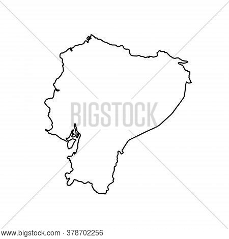 Outline Map Of Ecuador White Background. Vector Map With Contour.