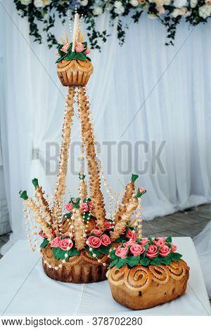 Festive Loaf For Wedding Ceremony. Decorated Fresh Loaf