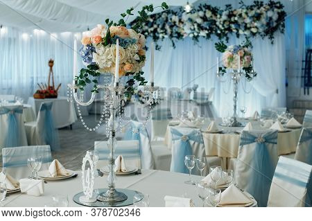 Close Up Of Centerpiece At Wedding Reception. Luxury Elegant Table Setting Dinner In A Restaurant