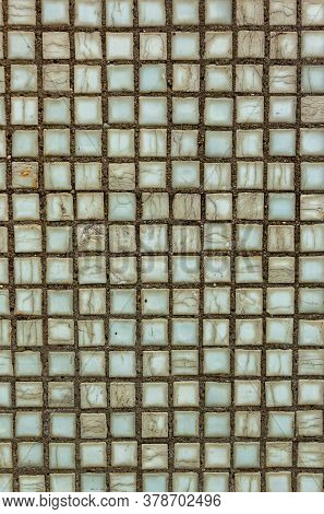 Old Square Background Mosaic, Ceramics. Abstract Pixels. Ceramic Tiles. Texture For Facing The Walls