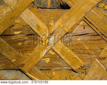 Texture Of Old Wooden Plaster Walls Of The Building. Background Image. Place For Text. Template. Pos