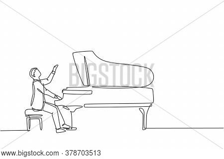 One Continuous Line Drawing Of Young Happy Male Pianist Playing Classic Grand Piano On Music Concert