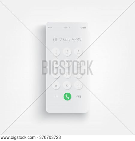 Modern White Smartphone. Display Keypad With Numberst For Mobile Phone. Keypad For Template In Touch