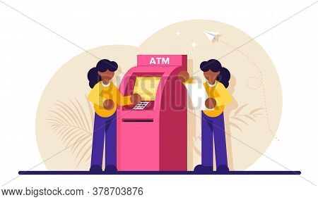 Concept Of Automated Teller Machine. Woman Use Atm. Financial Transaction, Banking Services, Cash Wi