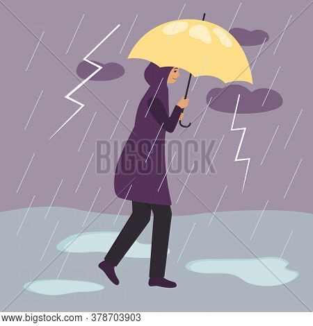 A Woman In A Raincoat Walks Under A Yellow Umbrella During A Thunderstorm And Rain With Lightning.