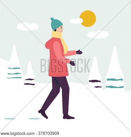 A Woman Walks In A Winter Coat In The Park, Spruces In The Snow And The Sun.