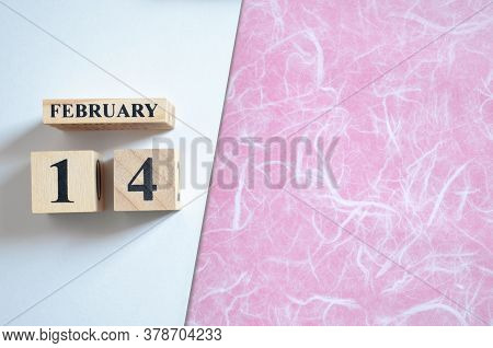 February 14, Empty White - Pink Background With Number Cube.