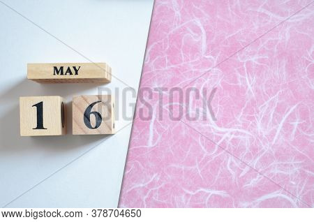 May 16, Empty White - Pink Background With Number Cube.
