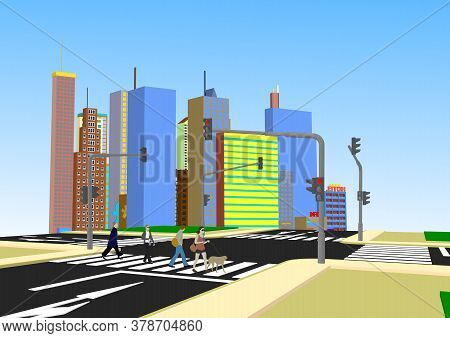 New Big City, Architecture Megapolis, Day And Night, Buildings, Skyscraper, Skyline, Vector Illustra