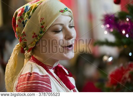 Belarus, The City Of Gomil, December 28, 2017. Belarusian National Holiday. Slavic Girl In A Scarf S