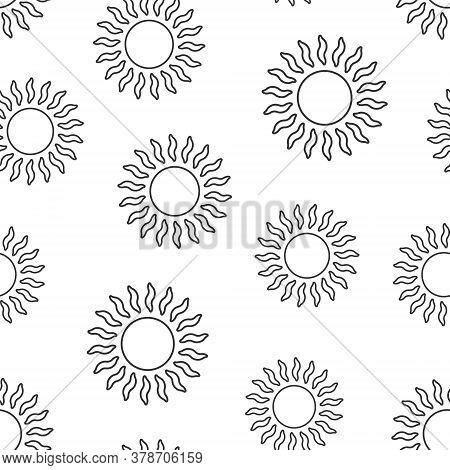 Sun Icon In Flat Style. Sunlight Sign Vector Illustration On White Isolated Background. Daylight Sea
