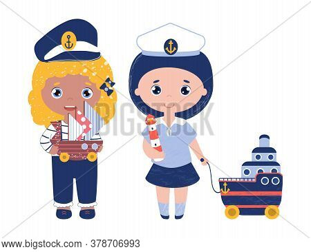 Vector Set Of Professions For Children. Girls In Sailor Suits And Captains Cap. Children Dream Of Be